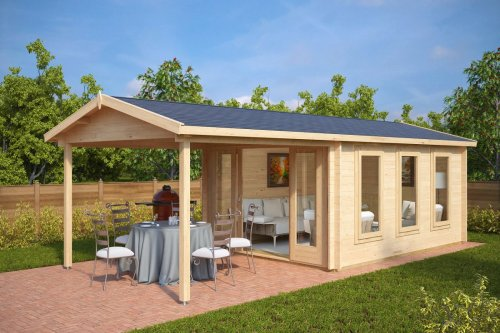 Garden Summer House with Canopy Eva E 12m² / 44mm / 3 x 4 m