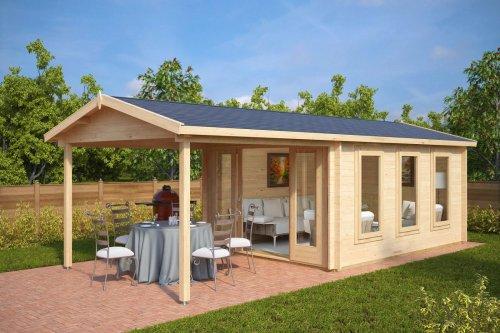 Garden Summer House with Canopy Eva E 12m² / 44mm / 3 x 4 m