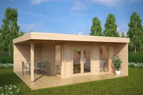 Modern Summer House Hansa Lounge XL with Veranda 14,5m² / 44mm / 6 x 5 m