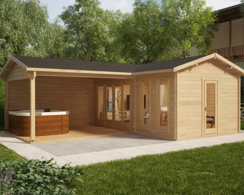 Corner Garden Room with Large Veranda Hansa B 18m2 / 44mm / 3 x 6 m
