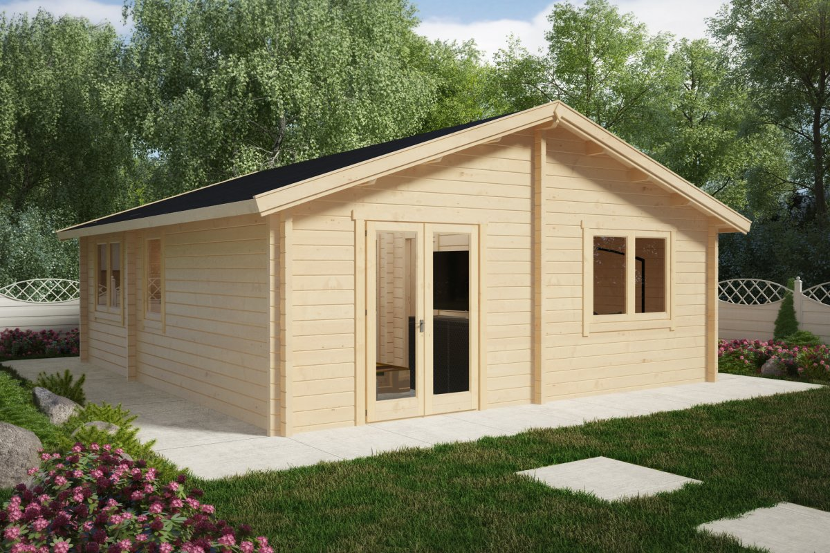 Two bedroom Log Cabin Summer House Ireland 43m 70mm 6 x 7 m