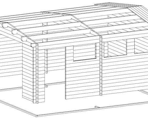 Large Log Garage Hansa B with Up and Over Door / 44mm / 4,5 x 5,5 m