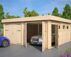 Modern Double Wooden Garage F with Flat Roof / 44mm / 6 x 6 m
