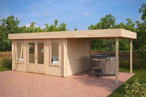 Modern Garden Log Cabin with Canopy Jacob D 12m² / 44mm / 4 x 3 m