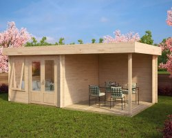 Modern Garden Room with Veranda Lucas D 9m² / 44mm / 6 x 3 m