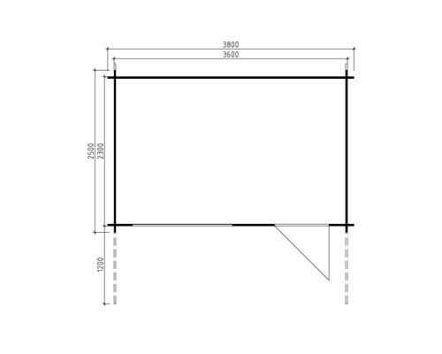 Log Cabin Rita S 8m² / 28mm / 3,8 x 2,5 m