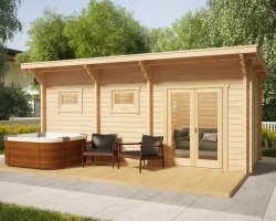 Sauna Cabin with Terrace Oliver II 11m2 / 70mm / 6 x 2 m