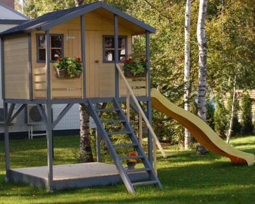 Wooden Playhouse with Slide 'Merlyn'