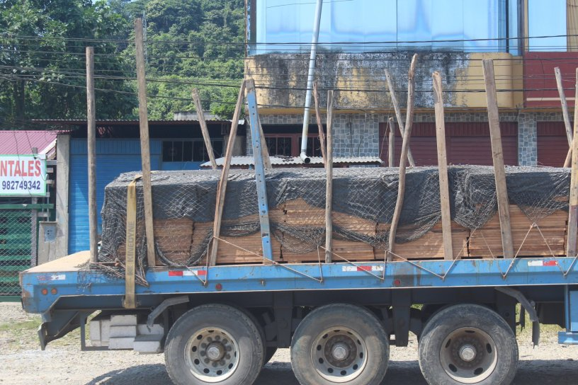 A truck loaded with presumable illegal wood in Mazuko Peru