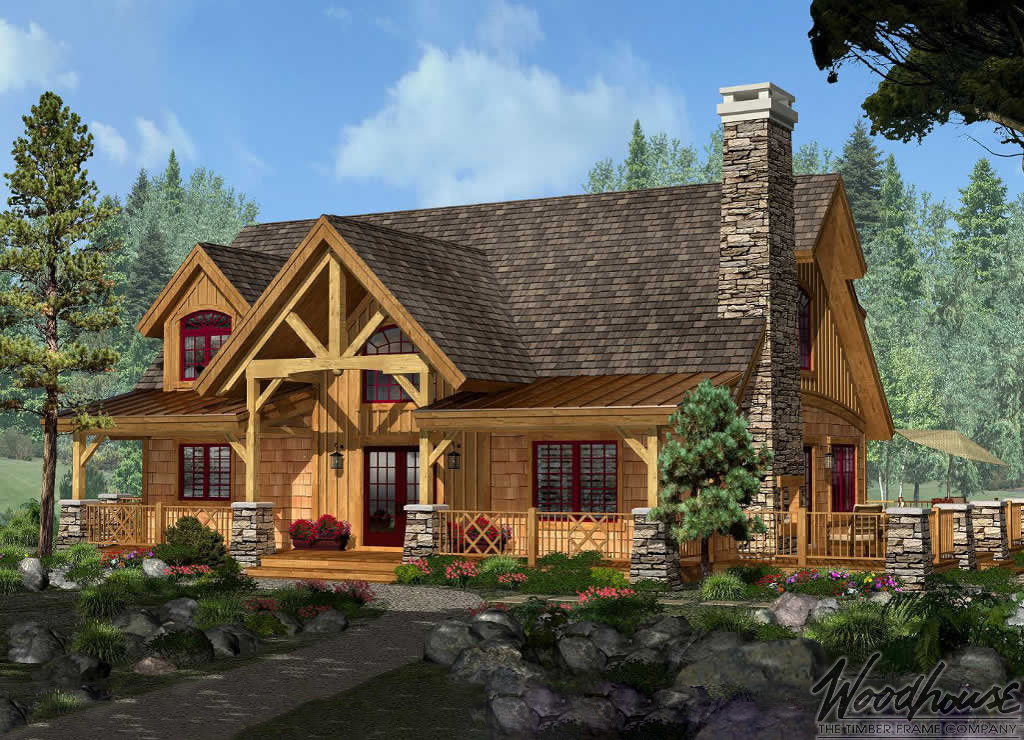 Timber frame home plans woodhouse the timber frame company for Adirondack style house plans