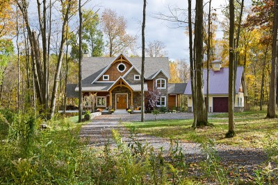 Custom Eastern White Pine Black Walnut Timber Frame Home in Finger Lakes NY