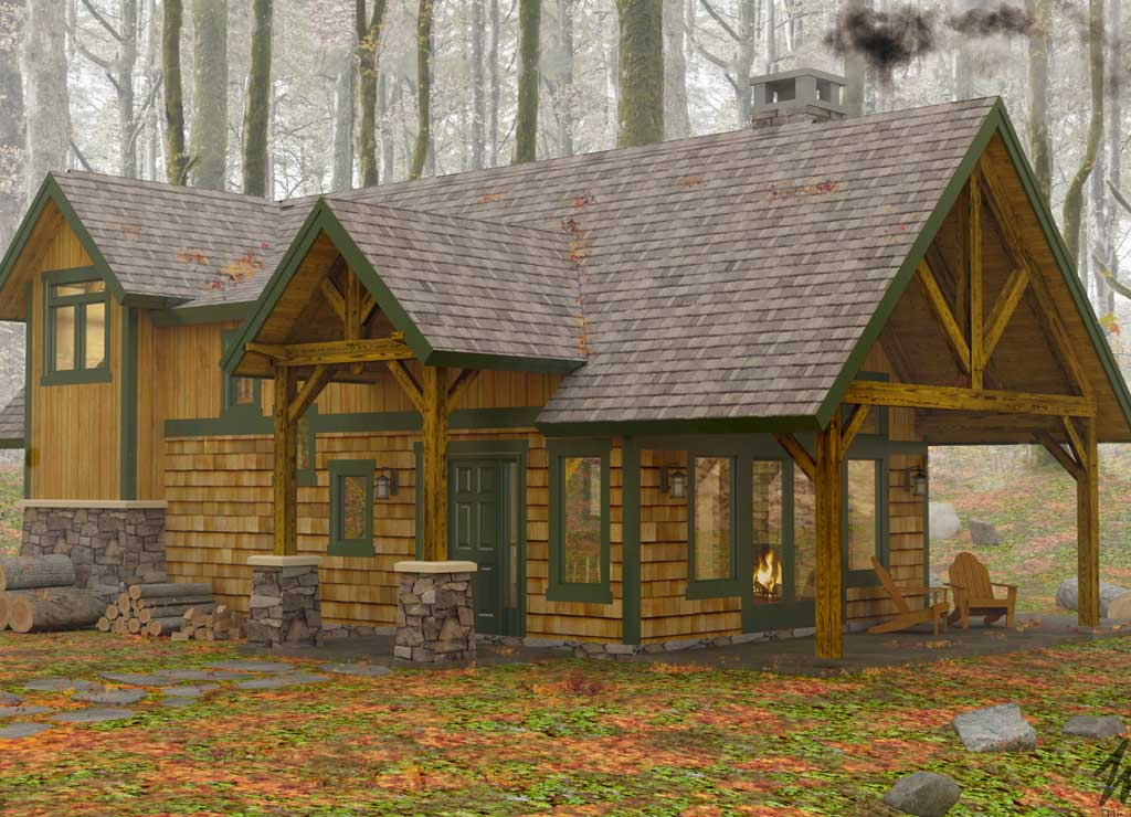The Classic Vacation Lodge: The Sylvan Cottage - Top Timber Frame Cabin Designs