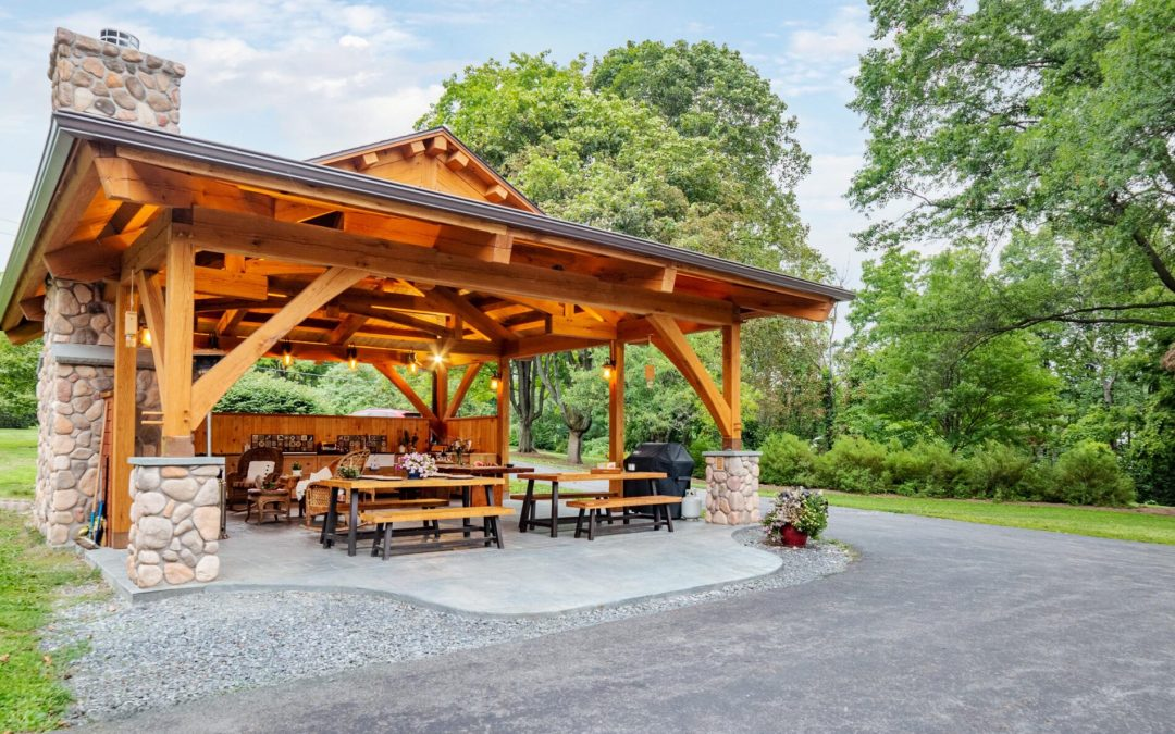 Inspiring Timber Frame Outdoor Kitchen Pavilion in Interlaken, NY