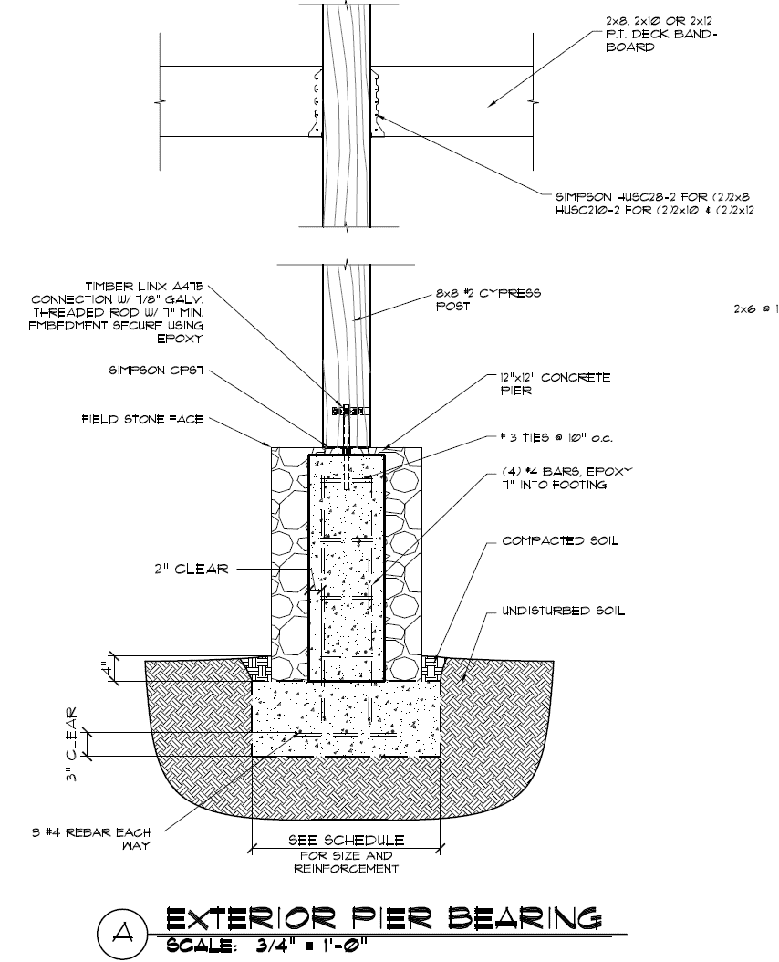Exterior Deck and Timber Frame Construction Masonry Detail