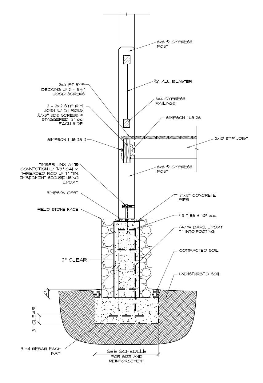 Timber Frame Deck Post Construction Detail
