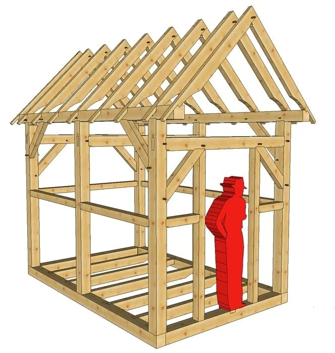 Diagram Of Bunkhouse 8x12 Timber Frame Shed Or Playhouse Timber Frame Hq