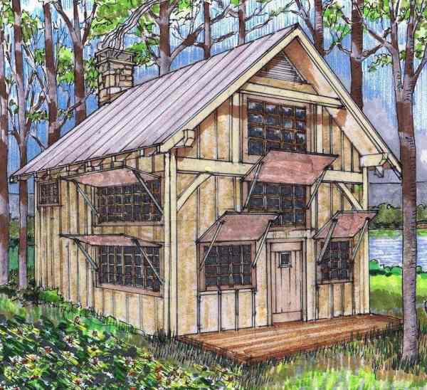 20x24 Timber Frame Plan With Loft - Hq