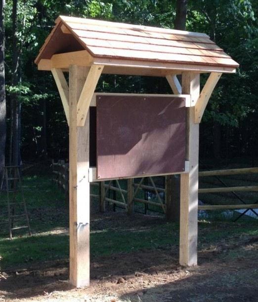 Classic Trailhead Kiosk A Timber Frame Sign Board