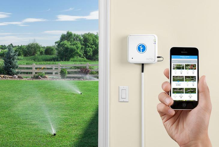 Rachio Wi-Fi sprinkler controller being controlled by an iPhone