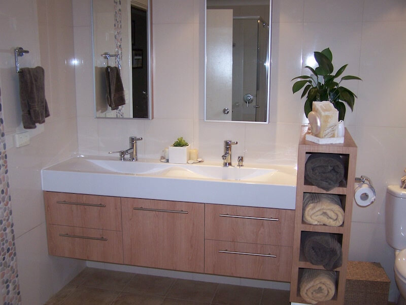 Vanity with Towel Storage