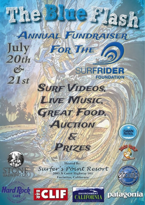 The Blue Flash Surfing Fundraiser Event Poster