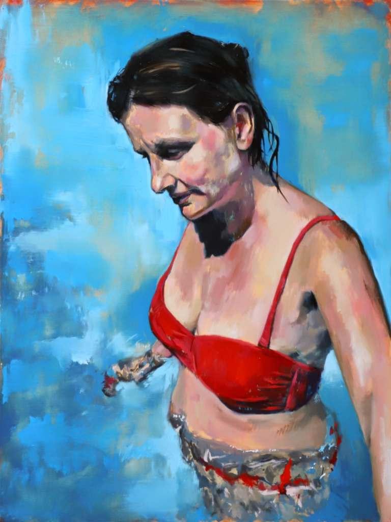 Portrait artist Bath Summer Blues painting