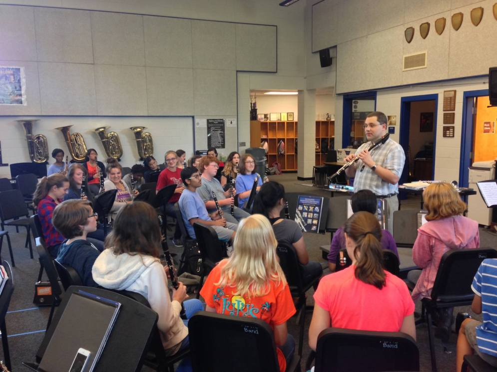 Teaching a clarinet class in Auburn, Alabama