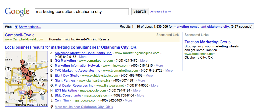 Two Google Local Business Results