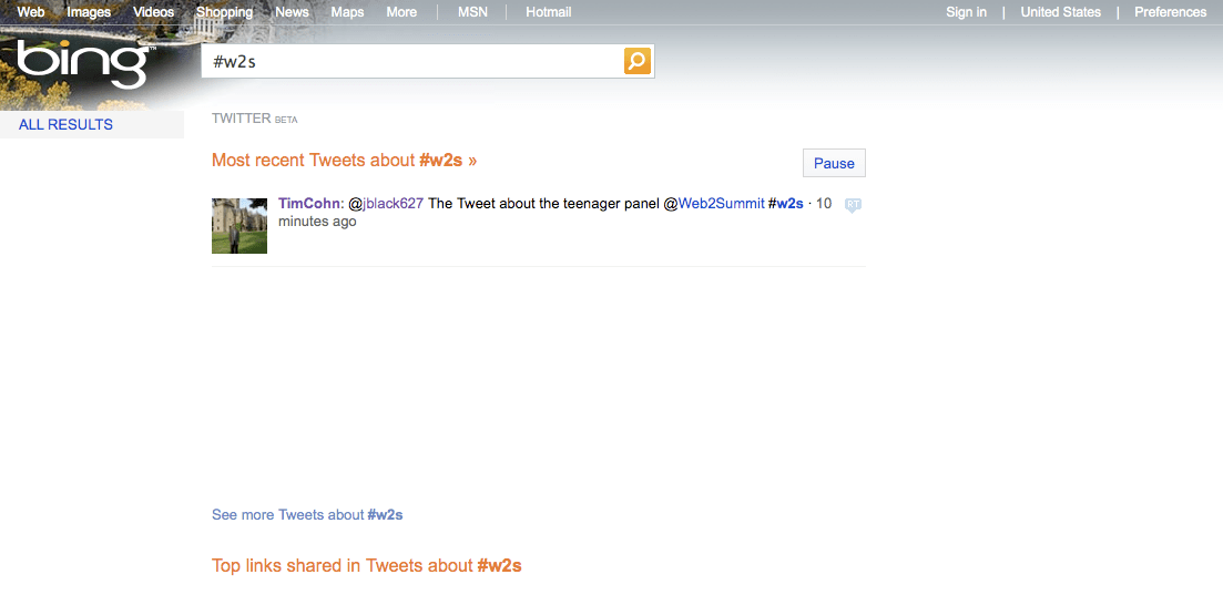 Bing Twitter Results Beta