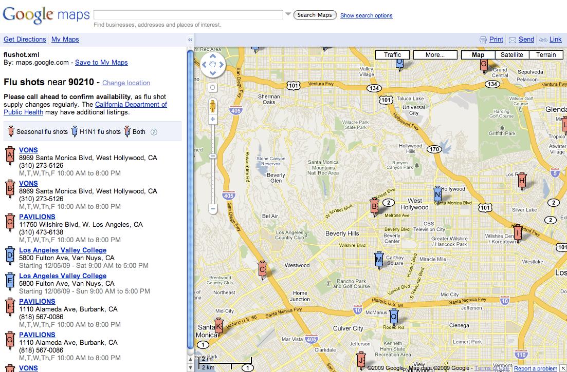 Google Flu Shot Locations