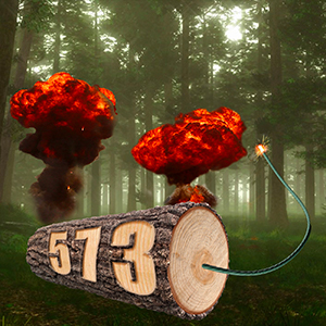 Show Art - A tree log with a lit fuse and explosions in the background