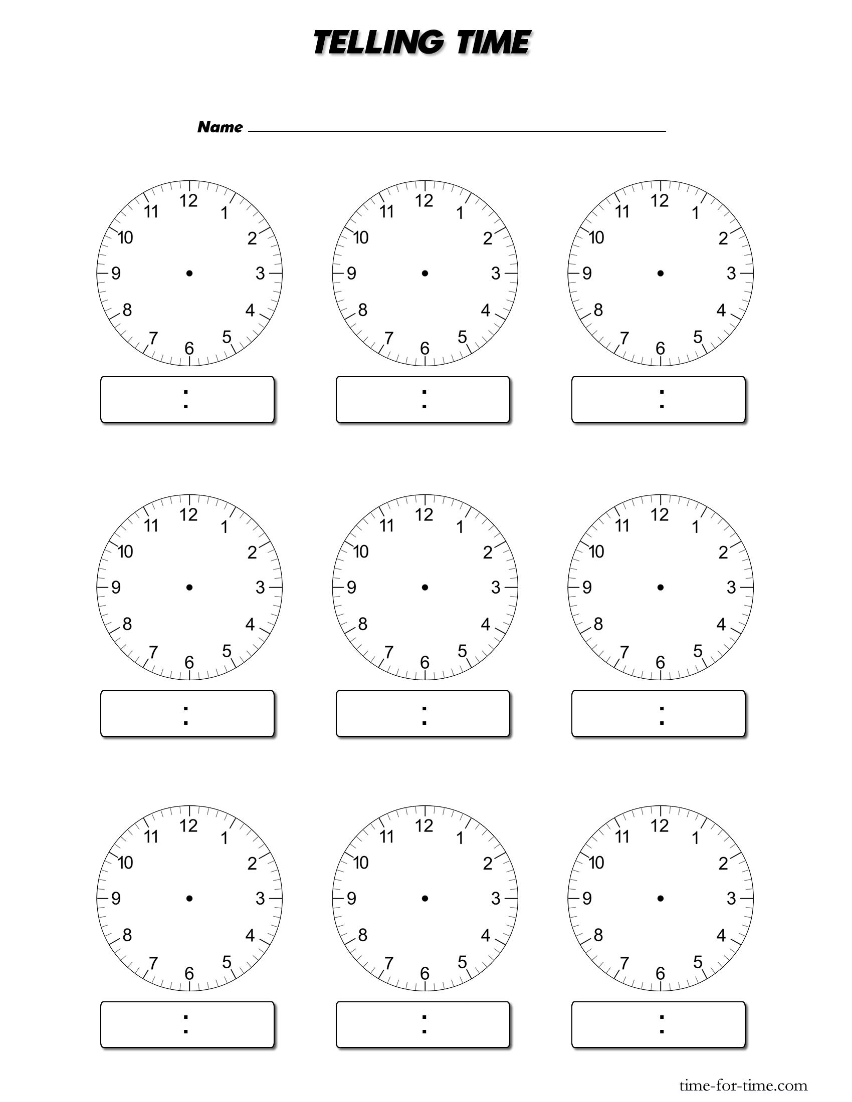 Blank Clocks Worksheet