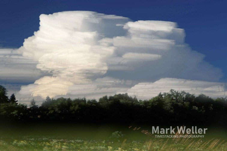 Timestack photography of billowing clouds