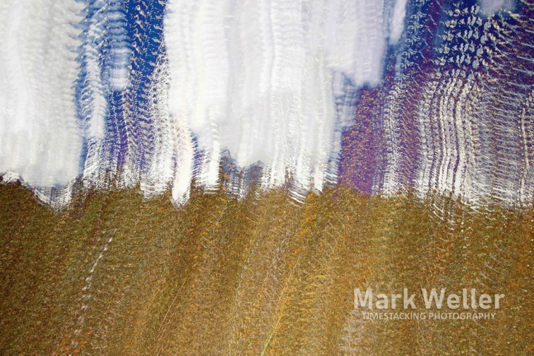 Timestack photography of abstract beach sand water waves