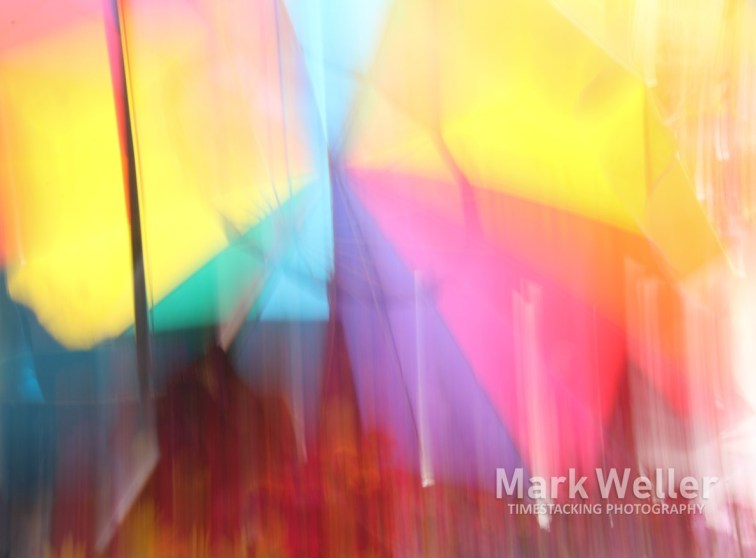 Timestack photography of abstract yellow red blue