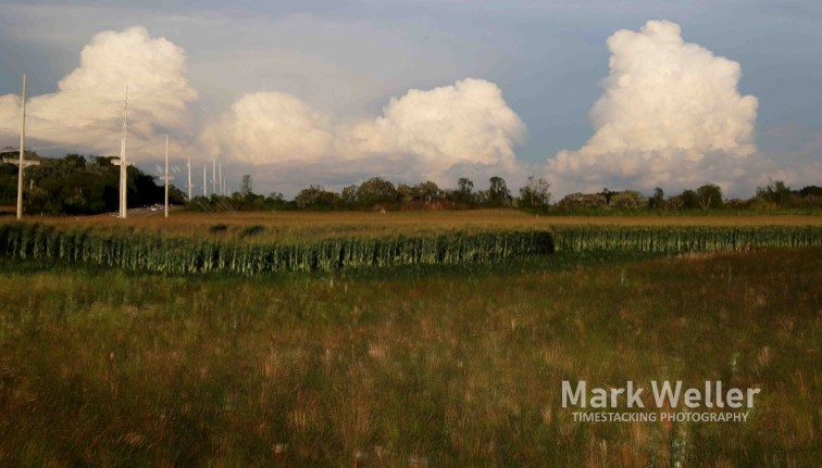Timestack photography of clouds over corn fields