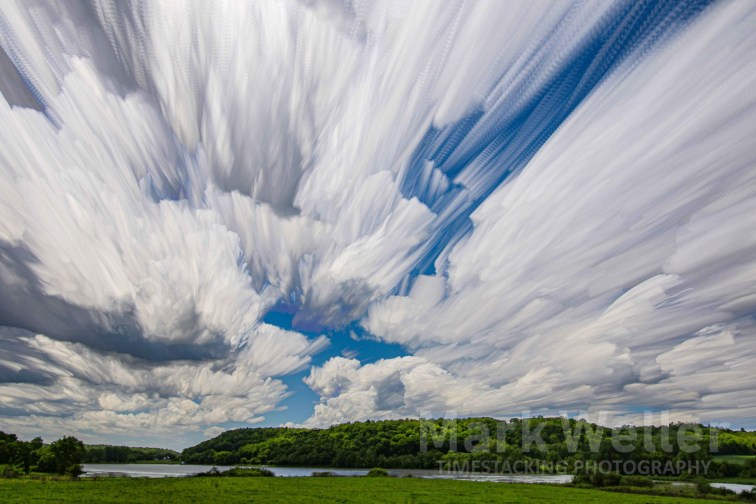 Timestacking photography of clouds over water