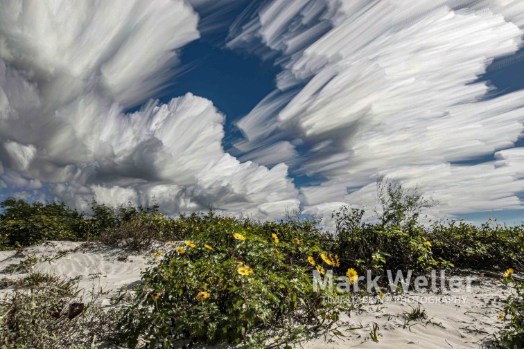 Timestack photography of clouds sand dunes