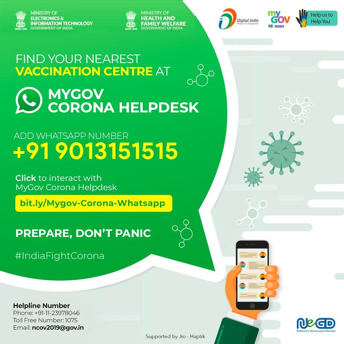 Find your nearest COVID-19 vaccine center via WhatsApp - Full Guide Step-By-Step Guide To Use The MyGov WhatsApp Chatbot To Locate Nearest Vaccination Center - timetips:
