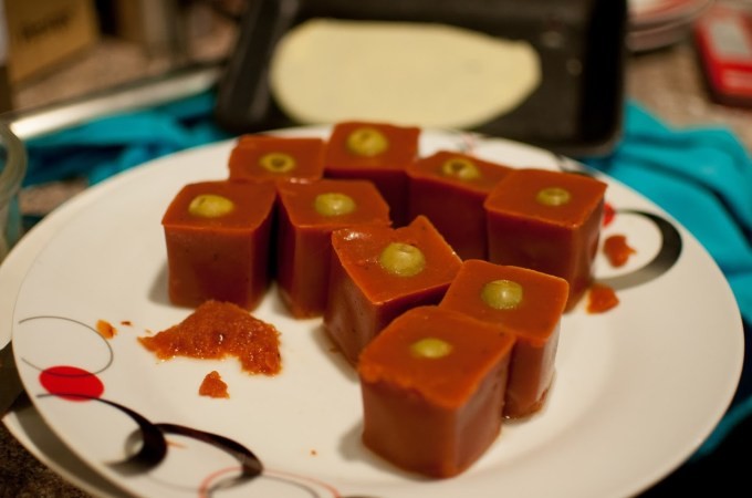 The only real disaster - jelly cubes of bloody mary mix.