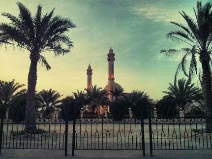 Day 166 Running errands in the evening. In traffic next to the Al Fateh Mosque and it looked rather lovely tonight.
