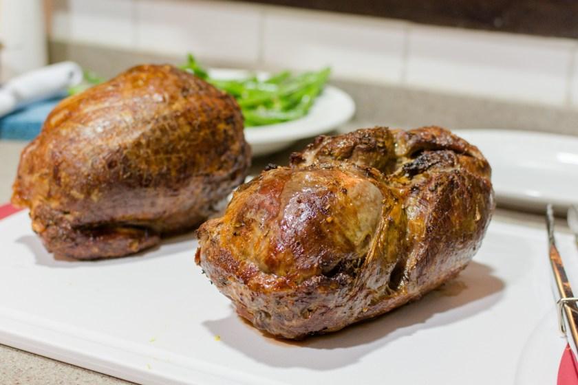 Slow roasted legs of lamb