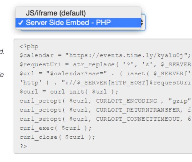 Server Side Embed Code