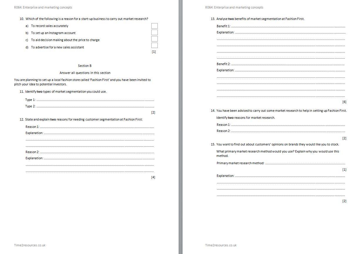 R064 Enterprise And Marketing Concepts Assessment Worksheets