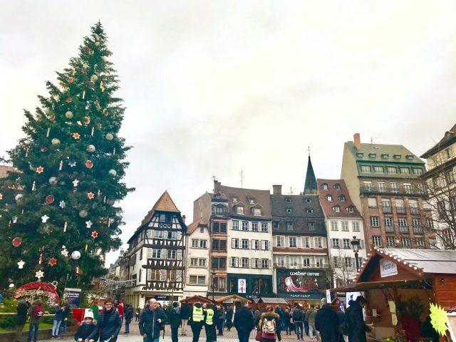 Strasbourg Main square giant Christmas tree