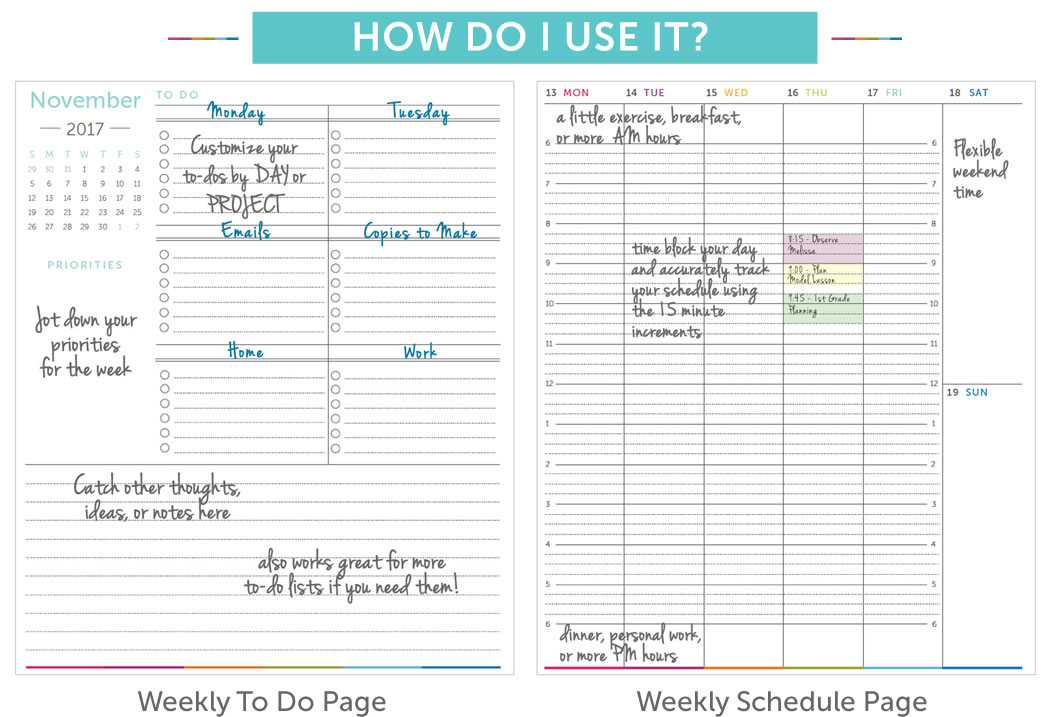 weekly planner with time slots