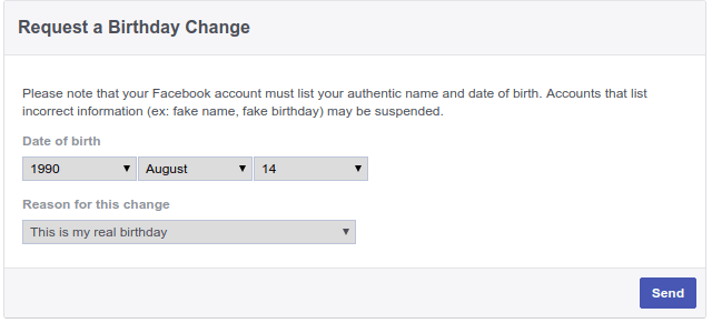 How to Facebook Change Birthday After limit