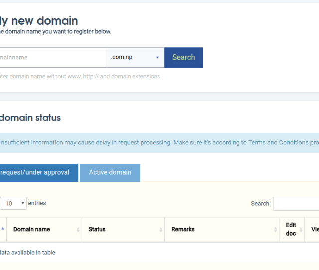 Image Form Np Domain Registration In Nepal With Apply New And Domain Status Dashboard After