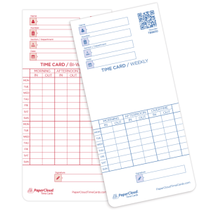 Acroprint time card, time card weekly and bi-weekly pay periods double sided.