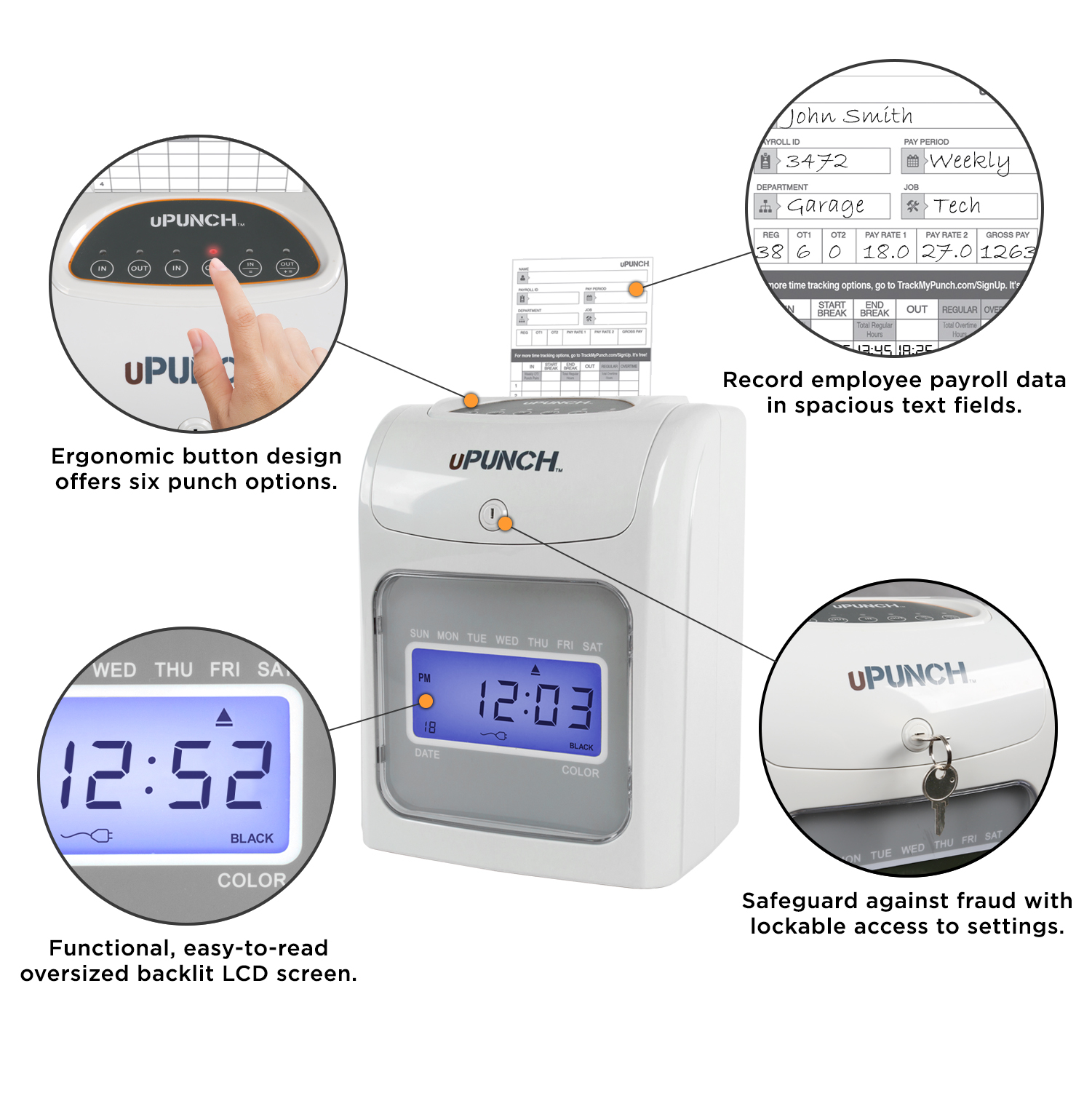 hight resolution of upunch electronic auto align calculating time clock bundle